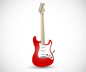 Red electric guitar vector illustration