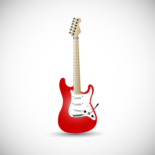 Red electric guitar vector illustration - Vector Music ...