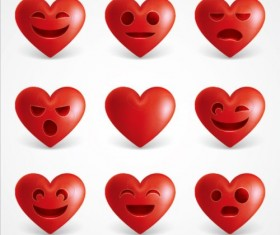 Red heart emoticons Icons set