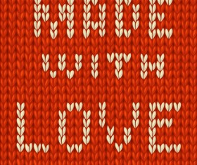 Red knitted pattern with love vector
