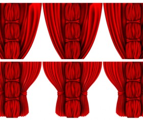Red silk curtains design vector set 01