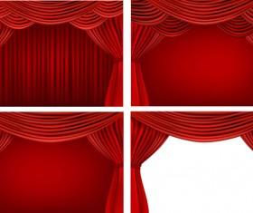 Red silk curtains design vector set 03