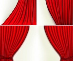 Red silk curtains design vector set 04