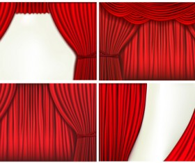 Red silk curtains design vector set 05