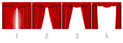 Red silk curtains design vector set 06