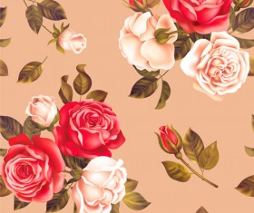 Red with white rose seamless pattern vector 01