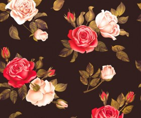 Red with white rose seamless pattern vector 02