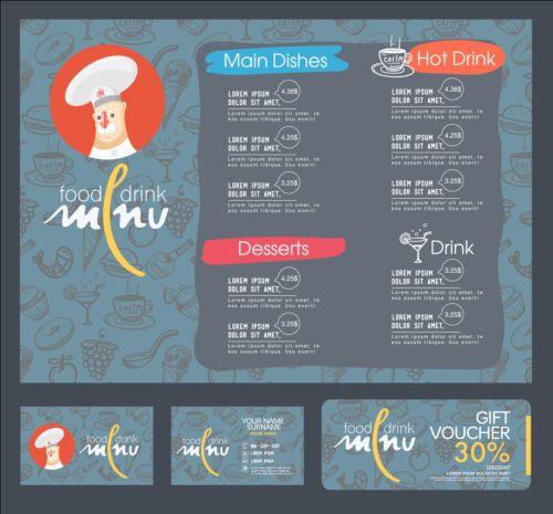 Restaurant menu with cards vector design 07