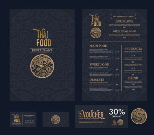 Restaurant menu with cards vector design 12