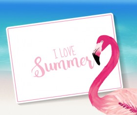 Sea with flamingo summer background vector