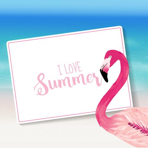 Sea With Flamingo Summer Background Vector Vector Animal