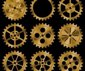 Shining golden gear vectors set 02