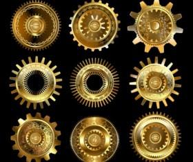 Shining golden gear vectors set 03