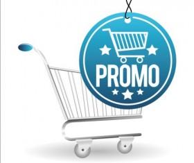 Shopping cart with promo design vector 01