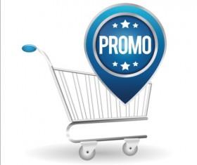 Shopping cart with promo design vector 02