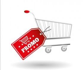 Shopping cart with promo design vector 03