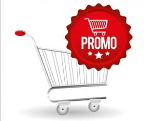 Shopping cart with promo design vector 04
