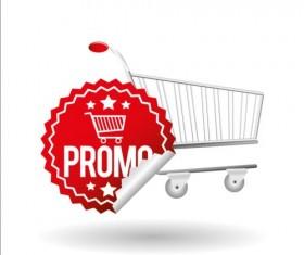 Shopping cart with promo design vector 05