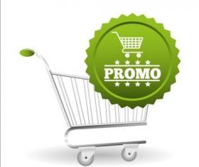 Shopping cart with promo design vector 06