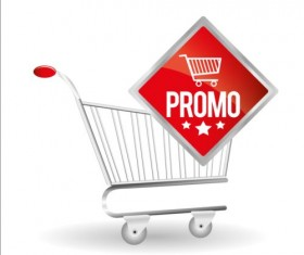 Shopping cart with promo design vector 09