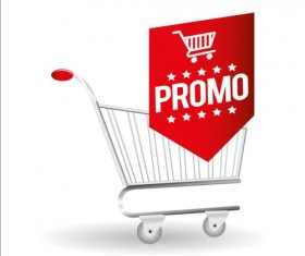 Shopping cart with promo design vector 10