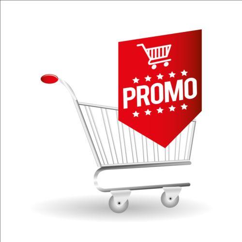 Shopping cart with promo design vector 10