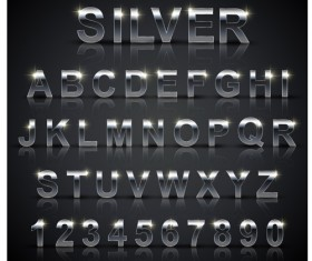 Silver material number with alphabet vector