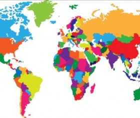 Simple color world map vector 01