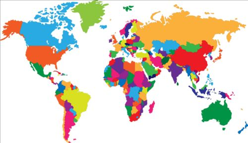 Simple color world map vector 01 free download