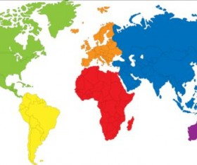 Simple color world map vector 02