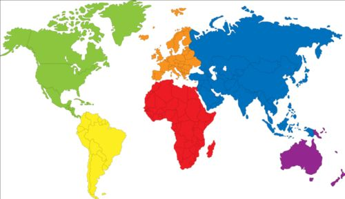 World Map To Color And Label.Simple Color World Map Vector 02 Free Download