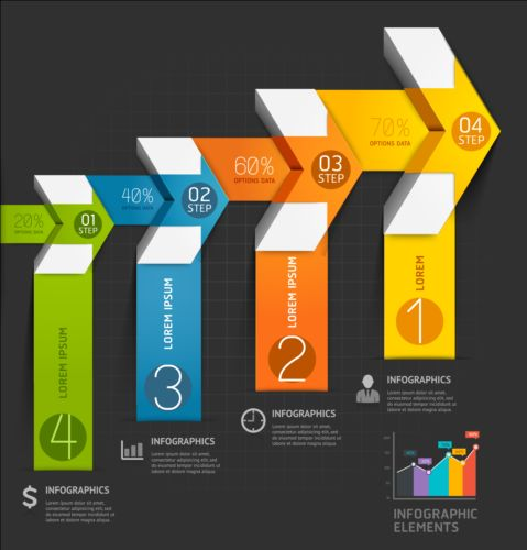 Staircase with arrow infographic vector 02