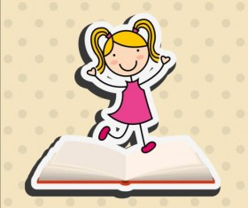 Student with book vector sticker 02