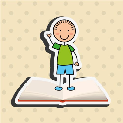 Student with book vector sticker 03