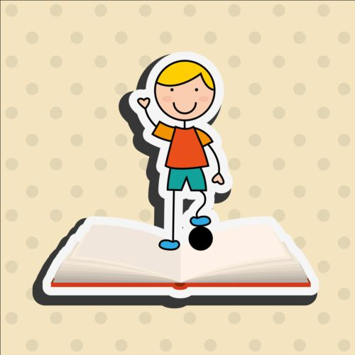 Student with book vector sticker 04
