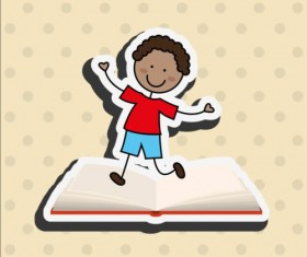 Student with book vector sticker 05