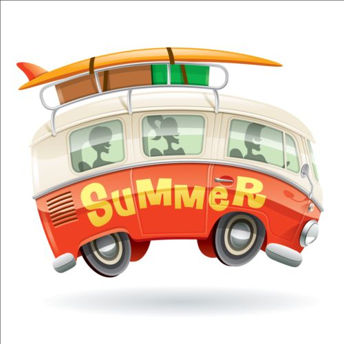 44f05cbcac Summer holiday surfing van vector 02 free download