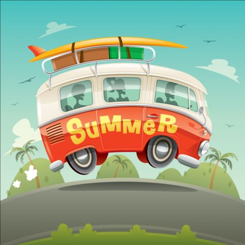 deb243d98c Summer holiday surfing van vector 04 free download