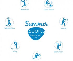 Summer sports icons creative design 01