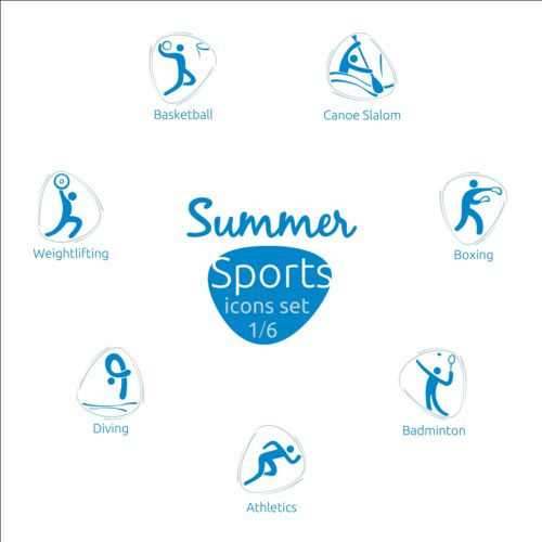 Summer sports icons creative design 01