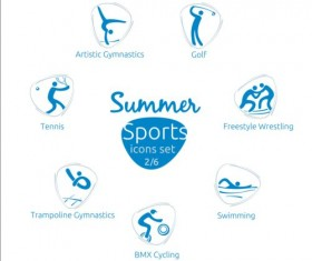 Summer sports icons creative design 02