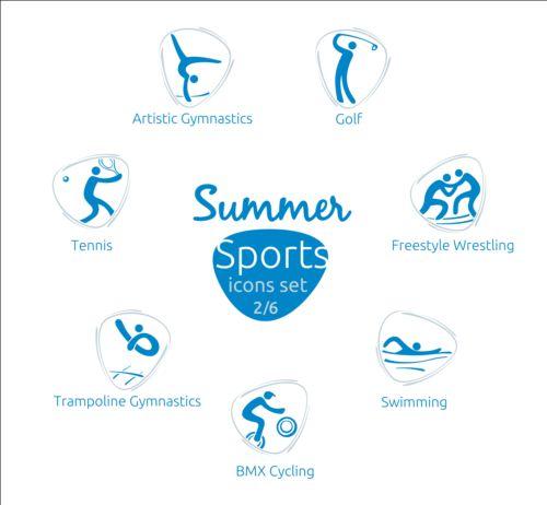 Summer sports icons creative design 02
