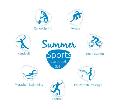 Summer sports icons creative design 03