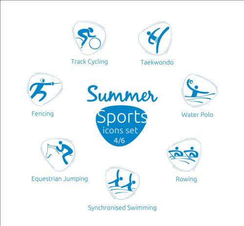 Summer sports icons creative design 04