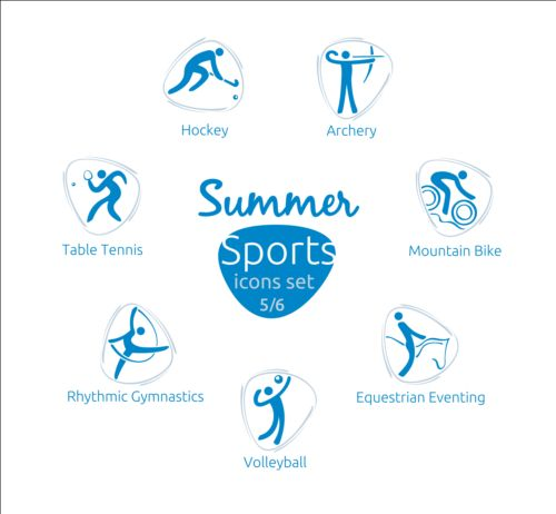 Summer sports icons creative design 05