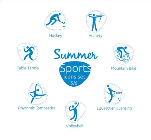 Summer sports icons creative design 05