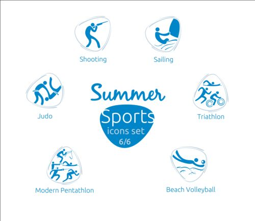 Summer sports icons creative design 06