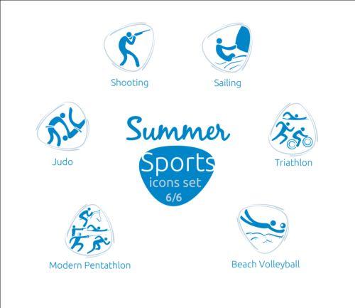 Summer sports icons creative design 06