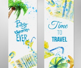 Summer travel banner with watercolor vector