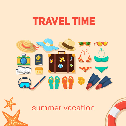 Summer travel vacation vector background 03